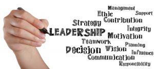 Hand writing leadership and related words on white board as concept